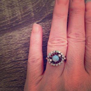 Gorgeous 14K White Gold Opal & Diamond Ring